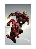 Carnage No.1 Cover: Spider-Man and Iron Man Flying Metal Print by Clayton Henry