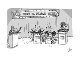 "A Game Show called ""Red Wire or Black Wire"" showing two exploded contestan... - New Yorker Cartoon Premium Giclee Print by Farley Katz"