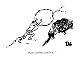 """""""It gets easier the second time."""" - New Yorker Cartoon Premium Giclee Print by Drew Dernavich"""