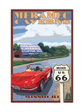 Meramec Caverns, Missouri - Route 66 and Barn Metal Print by  Lantern Press