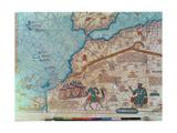 Détail de l'atlas catalan, 1375 Reproduction sur métal par Abraham Cresques