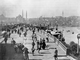 Galata Bridge Spanning Golden Horn to Blue Mosque Metal Print