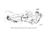 """When did you first realize you were really a woman"" - New Yorker Cartoon Premium Giclee Print by Carolita Johnson"
