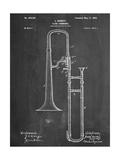Slide Trombone Instrument Patent Metal Print