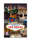 Las Vegas Casinos and Hotels Montage Metal Print by  Lantern Press