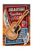 Branson, Missouri - Acoustic Guitar Music Shop Prints by  Lantern Press
