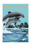 Marco Island - Dolphins Jumping Prints by  Lantern Press