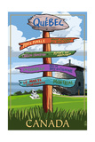 Quebec, Canada - Signpost Destinations Print by  Lantern Press
