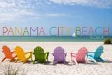 Panama City Beach, Florida - Colorful Beach Chairs Prints by  Lantern Press