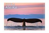 Sitka, Alaska - Humpback Fluke and Sunset Art by  Lantern Press