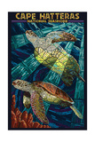 Cape Hatteras National Seashore - Sea Turtle Mosaic Print by  Lantern Press