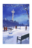 Space Needle in Snow, Seattle, WA Print by  Lantern Press
