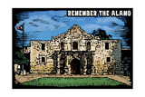 Remember the Alamo - Scratchboard Prints by  Lantern Press