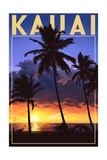 Kauai, Hawaii - Palms and Sunset Art by  Lantern Press