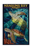 Hanauma Bay, Hawai'i - Sea Turtle - Mosaic Prints by  Lantern Press