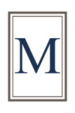 Monogram - Estate - Gray and Blue - M Prints by  Lantern Press