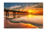 Pensacola Beach, Florida - Pier and Sunset Poster by  Lantern Press