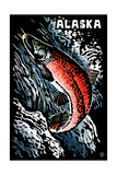 Alaska - Sockeye Salmon - Scratchboard Art by  Lantern Press