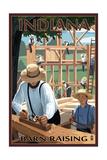 Indiana - Amish Barn Raising Scene Prints by  Lantern Press