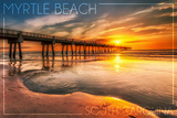 Myrtle Beach, South Carolina - Pier and Sunset Posters by  Lantern Press
