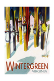 Wintergreen, Virginia - Colorful Skis Prints by  Lantern Press