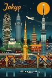 Lantern Press - Tokyo, Japan - Retro Skyline - Art Print