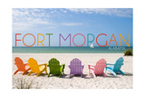 Fort Morgan, Alabama - Colorful Beach Chairs Prints by  Lantern Press