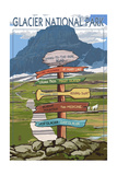Glacier National Park - Going-To-The-Sun Road Mountain Signpost Posters by  Lantern Press