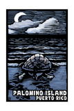 Palomino Island, Puerto Rico - Sea Turtle on Beach - Scratchboard Schilderijen van  Lantern Press