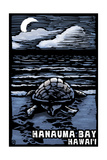 Hanauma Bay, Hawai'i - Sea Turtle - Scratchboard Posters van  Lantern Press