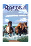 Assateague, Maryland - Pony Swim Prints by  Lantern Press