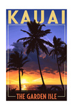 Kauai, Hawaii - the Garden Isle - Palms and Sunset Posters by  Lantern Press