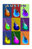 Austin, Texas - Guitar Pop Art Prints by  Lantern Press