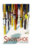 Snowshoe, West Virginia - Colorful Skis Art by  Lantern Press