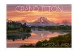 Grand Teton National Park, Wyoming - Sunset and Mountains Prints by  Lantern Press