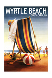 Myrtle Beach, South Carolina - Beach Chair and Ball Posters by  Lantern Press