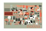 Indiana - Farm Folk Art Art by  Lantern Press