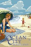 Ocean City, Maryland - Beach Scene Print by  Lantern Press