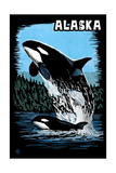 Alaska - Orca - Scratchboard Posters by  Lantern Press