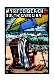 Myrtle Beach, South Carolina - Beach Chair - Scratchboard Prints by  Lantern Press