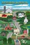 Nebraska - Retro Style Countryside Kunstdrucke von  Lantern Press