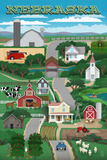 Nebraska - Retro Style Countryside Prints by  Lantern Press