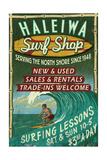 Haleiwa, Hawaii - Surf Shop Vintage Sign Posters by  Lantern Press