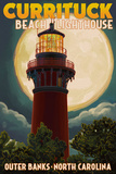 Currituck Beach Lighthouse and Moon - Outer Banks, North Carolina Posters by  Lantern Press