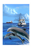 Fishing Boat with Freighter and Dolphins Posters by  Lantern Press