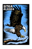 Sitka, Alaska - Bald Eagle - Scratchboard Prints by  Lantern Press