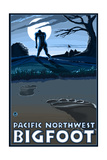 Pacific Northwest - Bigfoot Scene Poster by  Lantern Press