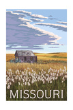 Missouri - Wheat Fields and Homestead Poster by  Lantern Press