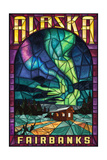 Fairbanks, Alaska - Cabin and Northern Lights Stained Glass Prints by  Lantern Press