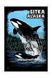 Sitka, Alaska - Orca - Scratchboard Poster by  Lantern Press